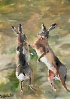 Print of Original painting art 2 hares boxing Impressionism British wildlife