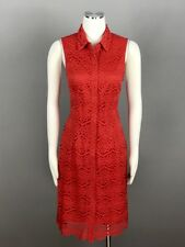 Ronni Nicole Red Dress Size 12 Floral Laced Front Button Sleeveless Shirt NEW
