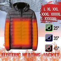 Men's USB Electric Heated Coat Jacket Hooded Heating Vest Winter Thermal Warmer