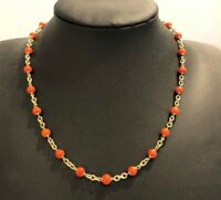 14k Solid yellow Gold & Coral Chain Necklace 13.84g