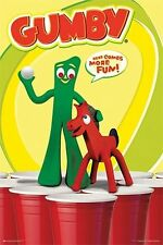 BEER PONG WITH GUMBY POSTER 24x36 - FUNNY COLLEGE DRINKING 11080