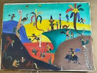 """Nadia Diputra? """"Balinese Landscape With Figures Scene"""" Oil On Canvas Painting"""