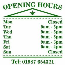 Opening Hours Times Sticker For Shops Pubs Clubs You Choose Hours and Colour OH6