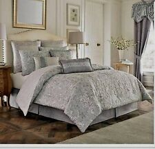 Croscill ALITA 4 Pc King Comforter Set w Bed Skirt & 2 King Shams Spa Gray NEW