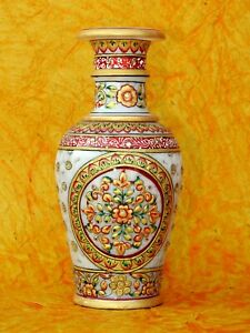 "9"" Marble Vase Flower Pot Handicraft Meenakari Stone Hand Painted Indian Art"