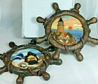 Set of 2 Nautical Wooden Ships Wheel-Replica Mariner Pictures Resin Wall Plaques