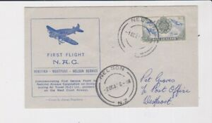 NEW ZEALAND STAMPS 1947 FIRST FLIGHT NAC NELSON TO WESTPORT