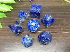 7 pc Lapis Lazuli Platonic Solids Sacred Geometric Set Crystal ~ GS7
