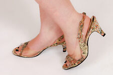 Vintage perspex tapestry embroidered sling back heels by L A Lady 50s 60s