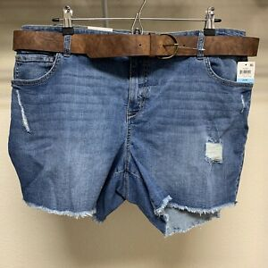 New Style & Co Plus Distressed Belted Shorts Mid Rise Women's Plus Size 20W Dark