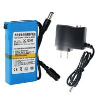 Super Power DC 12V Rechargeable 3000mAh Li-ion Battery Pack +AC Adapter US Plug