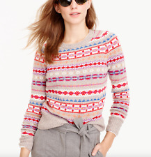 New J. Crew Women's Fair Isle Merino Wool Sweater F8289 Pink Pebble Mist Size S