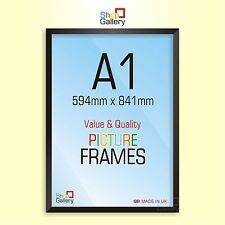 A1 BLACK Photo Picture Frames MDF WOOD Styrene GLASS