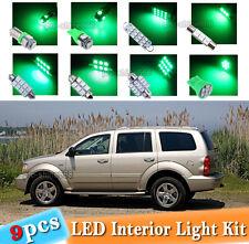 9-pc Green LED Car Interior Light Bulbs Package Kit Fit 2004 -2009 Dodge Durango