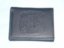 Fire Fighter FIREMAN   Leather TriFold Wallet    NEW    black 3  m3