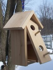 Handmade Double nested tall Birdhouse,Clean-out,hangi ng,Cedar,with two Perches.