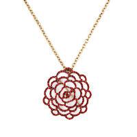 Collier Doré Pendantif Fleur Rose Rouge Broche 2 en 1 Original OSC 1