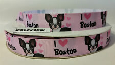 """Grosgrain Ribbon, I Love Boston Terrier Doggies with Pink Hearts, 7/8"""" Wide"""