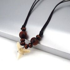 Shark Tooth Teeth Fossil Pendant Black Cotton Adjustable Surfer Choker Necklace