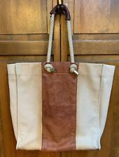 Nicole Miller Boat And Tote Bag Canvas Cotton Leather Beach Ivory Brown