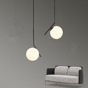 Glass Pendant Lights Black Metal Ceiling Light Kitchen Modern Lamp Home Lighting