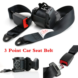 Black Car Seat Belt 3Point Safety Travel Adjustable Retractable Auto Universal
