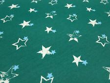 Stoff Baumwolle Jersey vintage Sterne grün weiß türkis Kleiderstoff