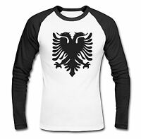 ALBANIA FLAG ALBANIAN CREST TSHIRT LONG SLEEVED BASEBALL TOP RAGLAN