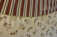 SHOWER CURTAIN  Cotton Print Fabric Rust Brown Cream Stripes & Floral
