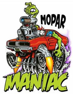 Mopar Maniac Dodge Charger T-Shirt Rat Fink Art-Mens Various Sizes--Brand New--