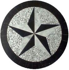 Floor Marble Round Medallion Carrara Texas Star Tile Mosaic 42 in