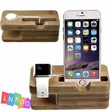 Natural Bamboo Wood Charger Dock Stand Holder For Apple Watch & Apple iPhone USA
