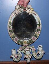Capodimonte Porcelain Cherub Wall Display Beveled Mirror & Candle Holder Vintage