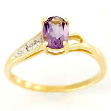 Wedding Solitaire with Accents Natural Amethyst Fine Rings