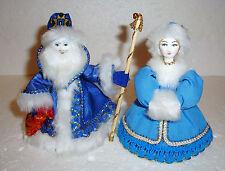 CUTE PAIR OF RUSSIAN CHRISTMAS ORNAMENTS ~ SANTA CLAUS+SNEGUROCHKA ~ NEW