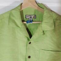 Caribbean Joe,Mens Shirt Size Medium Green Short Sleeve Hawiian Camp