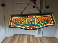 VINTAGE HEIELEMANS OLD STYLE BEER POOL TABLE LIGHT BAR  SIGN  FAUX STAINED GLASS