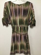 Womens Silk Dress Size SP Purple Beige Colorful Ruffled Cuffs Charlie Jade 200