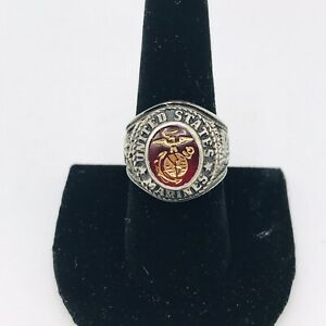 USMC Marines Marine Corps Insignia Mens Ring Sterling Ruby Size 8.5