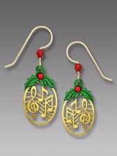 Sienna Sky Gold Music EARRINGS with Christmas Holly STERLING Silver - Gift Boxed