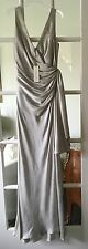 "NWT LUCA LUCA ""Gown Maori"" 100% Silk Silver Formal Sleeveless Gown; SZ 42; $2800"