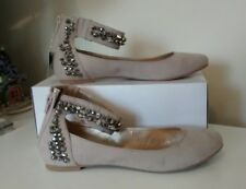 NEXT WOMENS BIEGE SUEDE STUDDED DIAMANTE ANKLE FLAT BALLERINA SHOES SIZE 5 BNWT