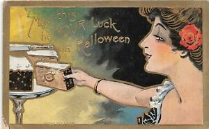 H12/ Halloween Postcard c1910 Pretty Woman Luck Cake Gold-Lined 3