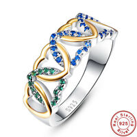 Blue Topaz & Sapphire & Emerald 100% 925 Sterling Silver Ring Size L½ N½ P½ R½