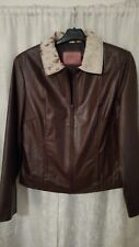 Vtg Lady CATTLE DRIVE Western Wear old Rodeo Leather/Cowhide Collar Jacket sz XL