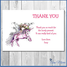 10 x PERSONALISED BIRTHDAY THANKYOU UNICORN CARDS ANY AGE/OCCASION WITH ENVELOPE