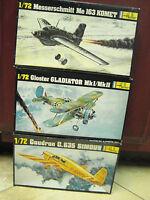 Lot of 3 Heller Airplane model  Gloster Gladiator,Caudron C. 635,Messerschmitt