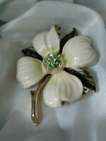 Vintage Off White Green Enamel Rhinestone Flower Gold Tone Costume Brooch Pin