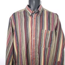 Georg Roth Germany Striped Long Sleeve Shirt L Button Front Blue Green Orange