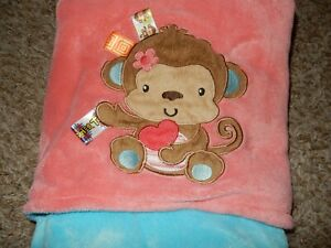 LN 30x40 TAGGIES MoNkEy Blue/Pink Plush Velour Baby Crib Blanket Lovey
